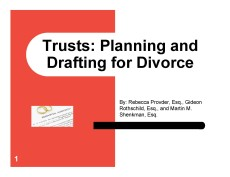 Trusts Planning and Drafting for Divorce Cover Page Jun 20 2017